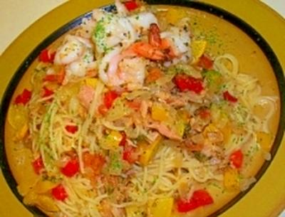 海老ツナと夏野菜のマリネのカッペリーニ