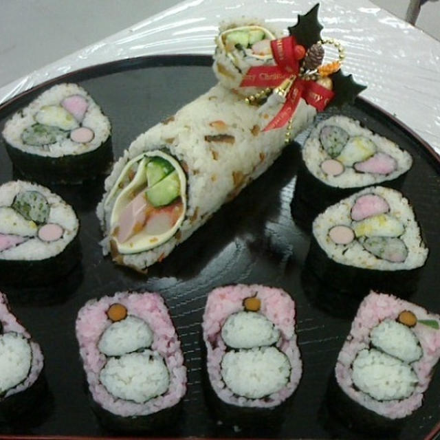 飾り巻き寿司 つかしんカルチャー 季節の飾り巻き寿司レッスン お正月  巻き納め~♪