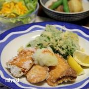 ぶりの竜田揚げ と じゃがいものそぼろ煮。和食ごはん。