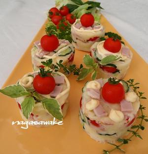 ミニトマトのカップケーキ風ポテトサラダのレシピ