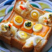 うずらの卵でにぎやかトースト☆