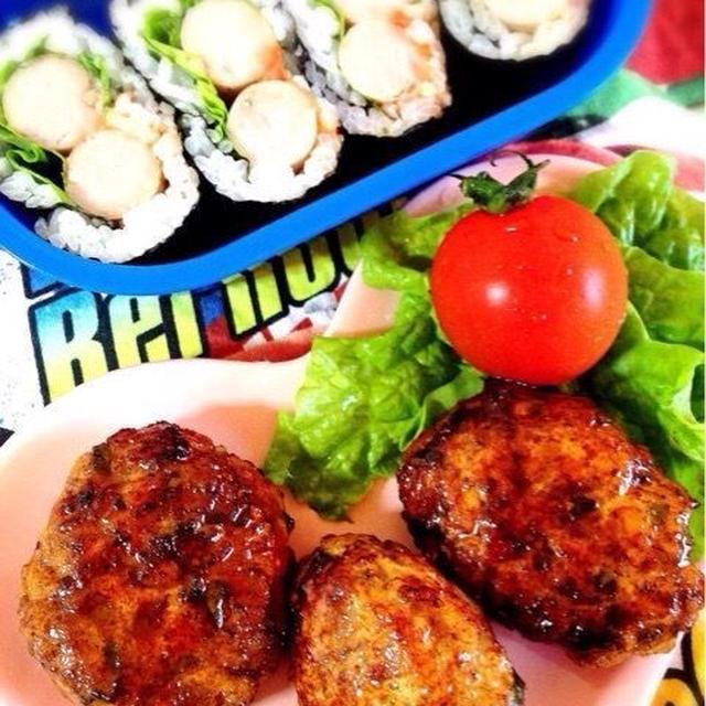 お弁当に【里芋入り鶏つくね】とソーセージ巻き海苔巻き