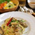 牡蠣のオイル漬けとほうれん草のパスタと塩麹漬鶏ムネ肉のオーブン焼き by shokoさん