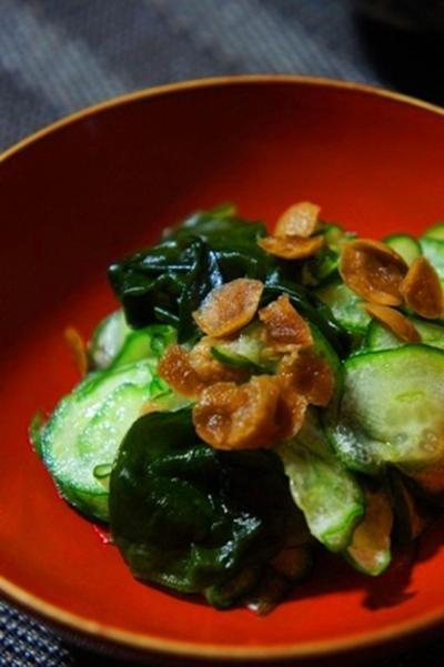 胡瓜と若芽の酢の物小梅をきかせて、射込み烏賊と大根を炊いたんで日本酒を……