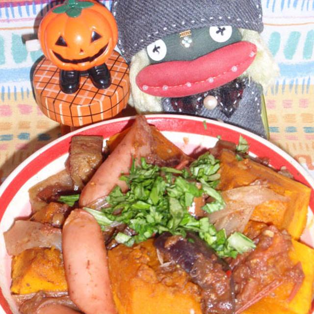 ラタトゥイユ風南瓜のスウィートチリ煮&セロリのきんぴら(お家カフェ)