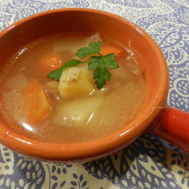 コストコ丸ごとチキンで野菜スープ