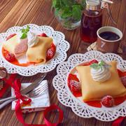 クレープの苺アイス包み〜自家製苺シロップをかけて♡
