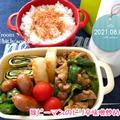 今日はハンコの日【次男弁当】豚ピーマンのピリ辛味噌炒め弁当【晩ごはん】ポテト&チキンのチリソース