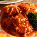 <煮込んで簡単☆鶏肉ときのこのトマト煮>