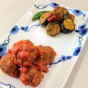 ミートボールのトマトソース煮と野菜のカレー風味添え❢
