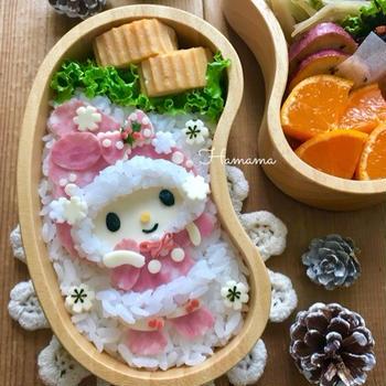 《キャラ弁》マイメロちゃんの冬のお弁当♡作り方
