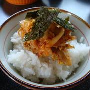 キムチと豚肉の卵とじ丼