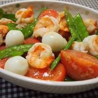 超~!簡単!!塩ジャンで海老とトマト炒め