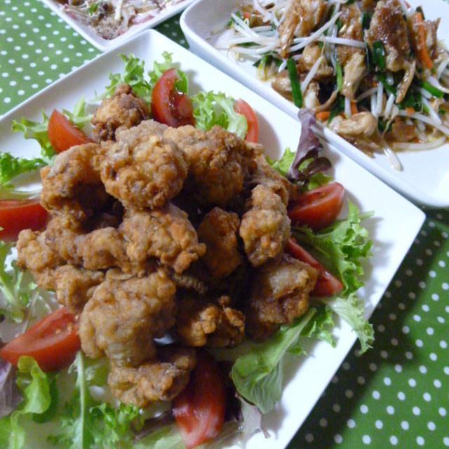 鶏のから揚げとタコのカルパッチョの献立 夕ご飯
