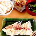 たけのこご飯、たけのこ味噌汁、姫皮の梅和え、たけのこのお刺身。 by Misuzuさん