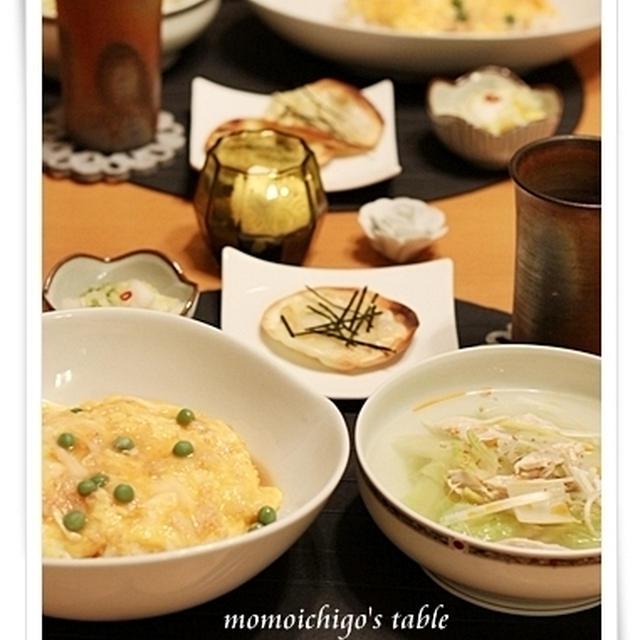 かに缶で天津丼&ささみの白菜たっぷり白湯風スープで中華ごはん♪