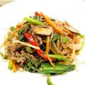 【韓国料理】「牛肉でチャプチェ」&もやしと竹輪ときゅうりのナムル&キムチ奴で晩ごはん。 by きちりーもんじゃさん