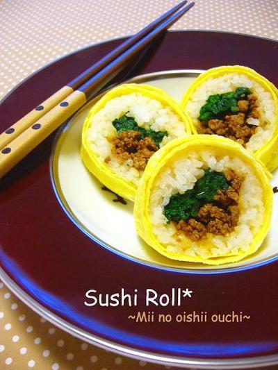 韓国風肉みそde卵巻き寿司♪