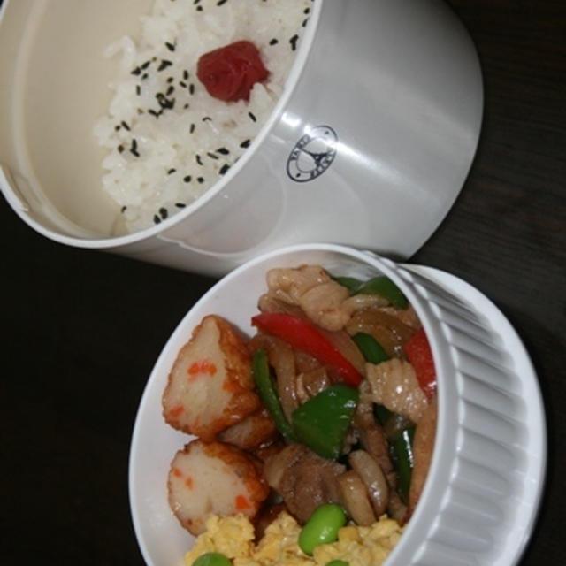 8月4日  豚肉と ピーマン炒めランチ