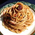 お茶漬けの素でカニカマ、大豆マヨパスタ(スパゲッティ)