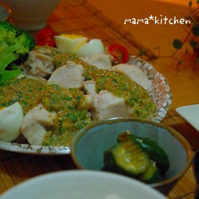 しっとり♪むね肉と蒸し野菜〜自家製ゴマ味噌ダレで!■きゅうりのピリ辛漬けレシピ■