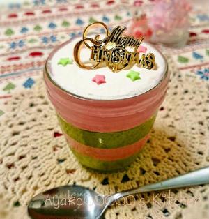 いちごと抹茶のクリスマスカラー生チョコムース