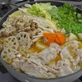 カラダの芯までぽかぽか♪ 根菜とキノコのあったか豚肉生姜鍋