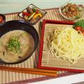 豆腐&味噌・ゴマで濃厚なつけ麺♪・オクラと納豆の梅和え・砂肝の柚子こしょう炒めの晩御飯