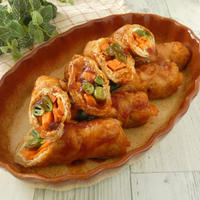 野菜と油あげの豚肉ロール煮
