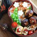 【春のお弁当】肉詰め椎茸弁当とアレンジレシピ「鶏団子のかき玉うどん」 by Nigiricco*さん
