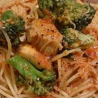 野郎飯流・帆立缶とブロッコリーの、ローズマリーを効かせたトマトソーススパゲッティ