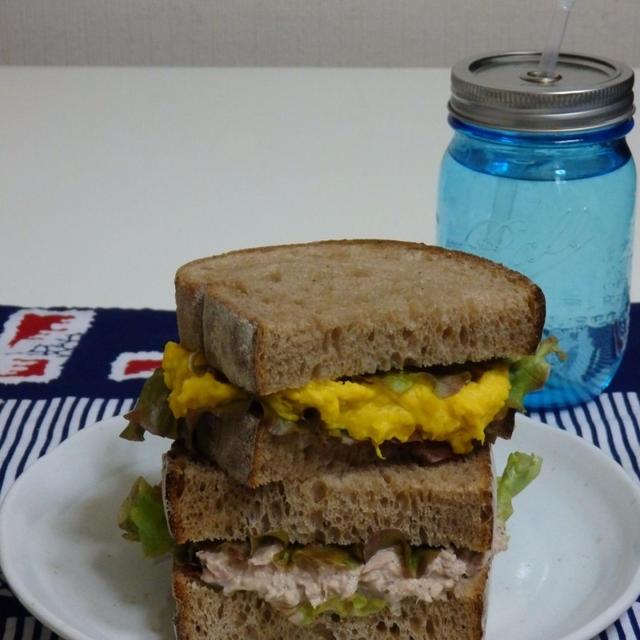 かぼちゃとツナのサンドイッチ