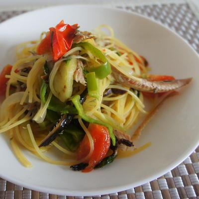 秋刀魚とスパゲッティ