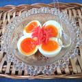 半熟ゆで卵に白だしめんつゆをかけて紅しょうがのせ