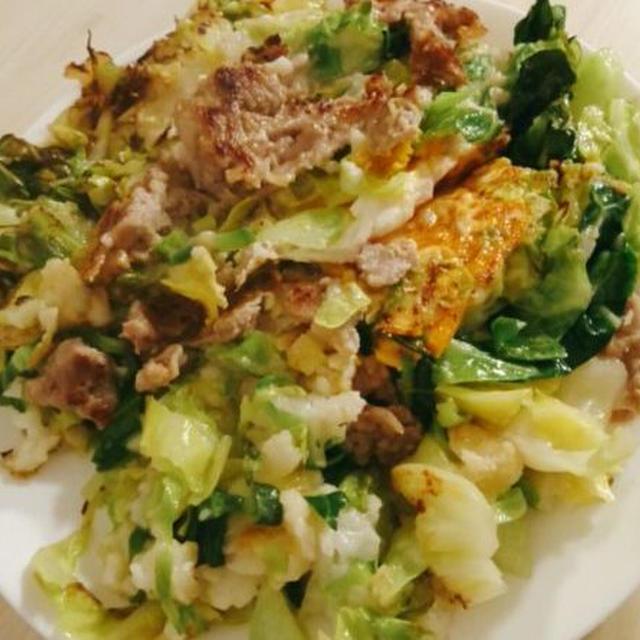 フライパンで簡単に出来るクイックお好み焼き、茄子とミョウガの味噌炒め。