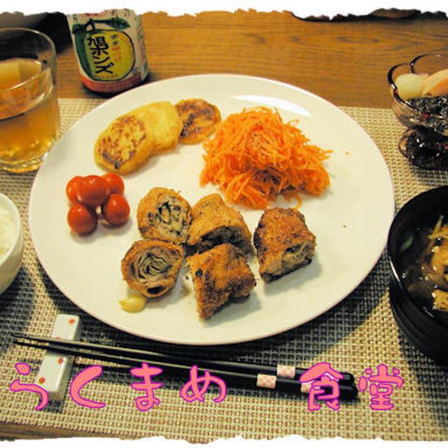 【しいたけの豚肉ロールフライ】定食♪ブッセ付き