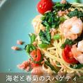海老と春菊のスパゲティたらこのからすみがけ【レシピと作り方】