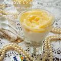 簡単♪シュワシュワゼリーとピーチの生キリクリームチーズケーキ風豆乳 パフェ