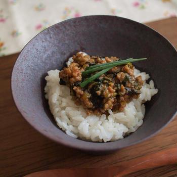 挽肉と小松菜の甘酢味噌餡