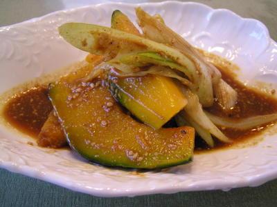 かぼちゃと葱のカレー味噌南蛮漬け