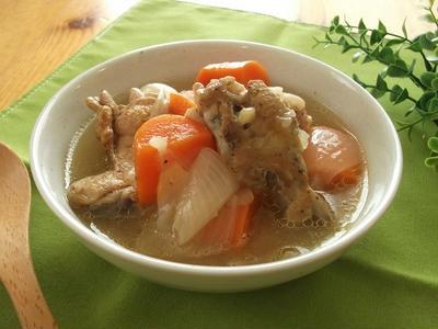 圧力鍋で♪手羽元と根菜の柚子ポン酢スープ