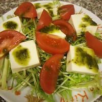 水菜とトマトと豆腐のサラダ