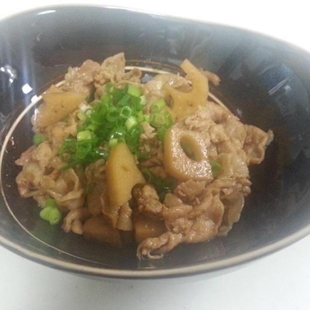 蓮根と豚肉の煮物