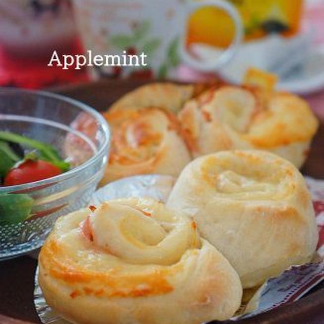 ハート型のハムチーズロール◆リプトンティーひらめき朝食◆