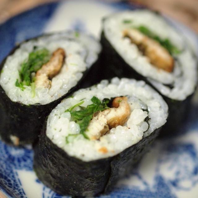 水菜で穴子巻き寿司☆