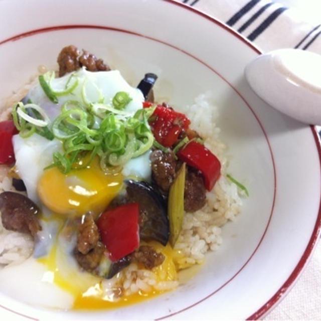 休日おうちカフェランチ 洋風ビネガー豚丼