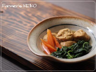 【ほうれん草のレシピ】がんもどきとほうれん草、にんじんの煮物 、ほうれん草と鶏肉のおかか炒め