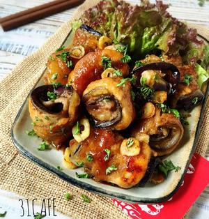 ♡ガリバタ醤油de豚肉となすのロール焼き♡【#簡単#時短#節約#フライパン#お弁当#肉巻き】