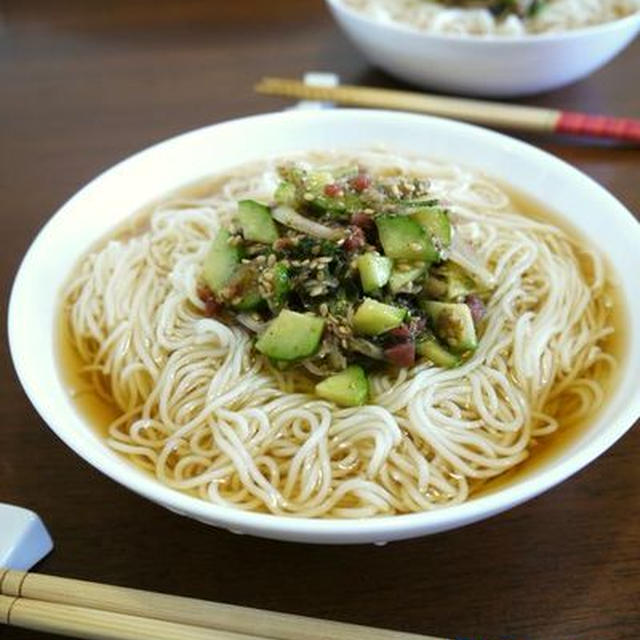 香味野菜の梅肉和えde爽やかお素麺♪