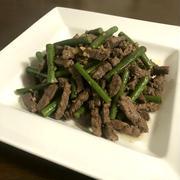 【簡単レシピ】牛肉とにんにくの芽のガーリック醤油炒め♪